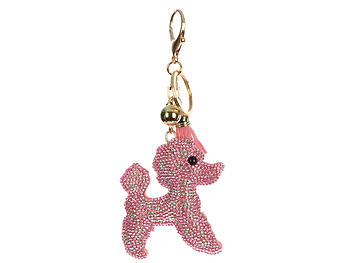 Pink Poodle Tassel Bling Faux Suede Stuffed Pillow Key Chain Handbag Charm
