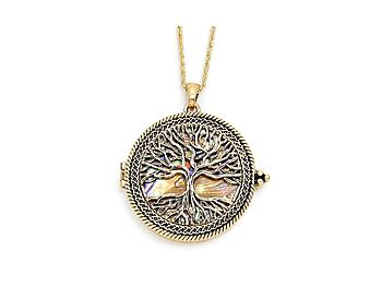 Occasions gift giving goldtone tree of life magnifying glass goldtone tree of life magnifying glass pendant necklace mozeypictures Image collections