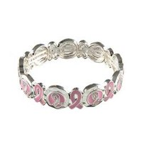 Pink Enamel Breast Cancer Awareness Ribbons Stretch Bracelet