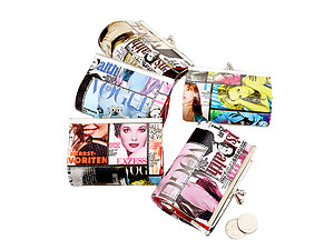 Magazine Print Coin Clasp Purse Wallet