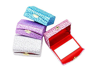 Glitter Patterned Double Lipstick Case w/ Mirror