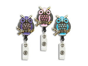 Owl Retractable Bling Reel ID Card Badge Holder