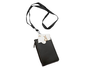 Colorful Faux Leather 30 inch Identification Badge Holder with Zipper Pocket