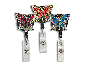 Butterfly Retractable Bling Reel ID Card Badge Holder