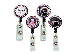 Pink Ribbon Retractable Bling Button Reel