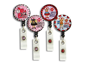 Retractable Bling Super Nurse Button Reel ID Holder