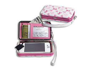 Ribbon & Heart Breast Cancer Smartphone Case Wristlet
