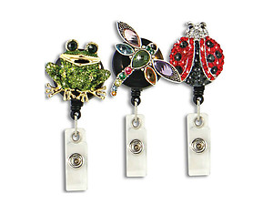 Garden Animal Retractable Bling Reel ID Card Badge Holder