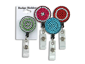 Colorful Retractable Bling Button Reel ID Badge Holder
