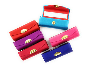 Solid Satin Lipstick Case Holder w/ Mirror