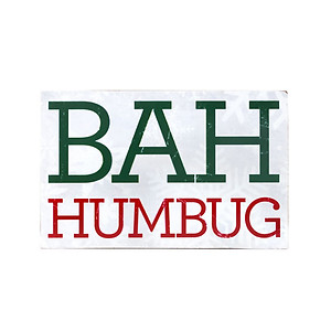 Bah Humbug Wooden Wall Decor Plaque