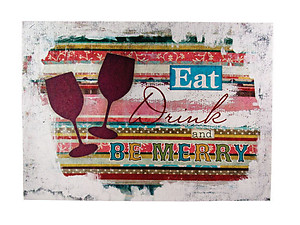 Eat, Drink, and Be Merry Canvas Print on Wooden Frame