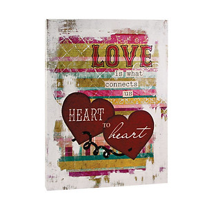 Love is What Connects Us Heart to Heart Canvas Print on Wooden Frame