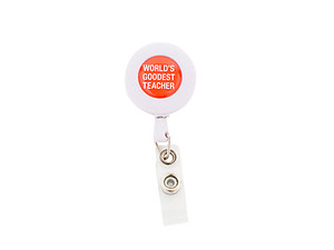 World's Goodest Teacher Colorful & Fun Retractable Badge Reel ID Badge Holder