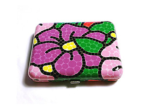 Flower Bright Bubble Design Fujima King Size Cigarette Case