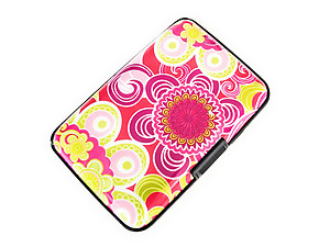 Flower Design Aluminum Wallet Credit Card Holder
