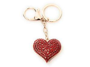 Crystal Stone Heart Shaped Pendant Keychain Handbag Charm