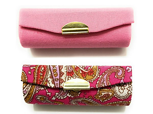 Pink Paisley & Light Pink Satin Solid Color Lipstick Case w/ Mirror