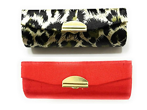 Green Fabric Animal Print & Solid Orange Satin Lipstick Case Holder w/ Mirror