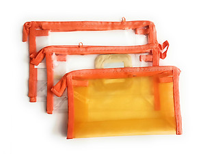 3 Pack See Thru Zipper All Purpose Cosmetic Bag Set
