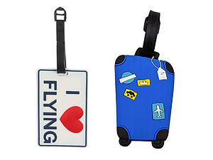 I Heart Flying & Blue Suitcase Set ~ Travel Suitcase ID Luggage Tag and Suitcase Label