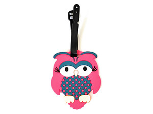 Pink Owl ~ Travel Suitcase ID Luggage Tag and Suitcase Label