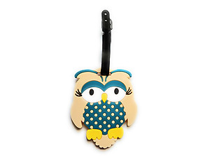 Beige Owl ~ Travel Suitcase ID Luggage Tag and Suitcase Label