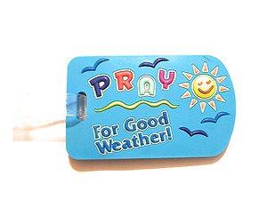 Blue Good Weather ~ Inspirational Travel Suitcase Label ID Luggage Tag
