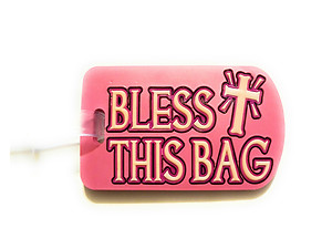 Inspirational Travel Suitcase Label ID Luggage Tag - Pink Bless This Bag