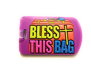 Inspirational Travel Suitcase Label ID Luggage Tag - Purple Bless This Bag