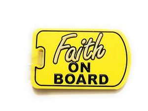 Inspirational Travel Suitcase Label ID Luggage Tag - Yellow Faith On Board