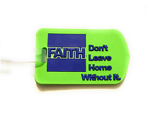 Inspirational Travel Suitcase Label ID Luggage Tag - Green Faith