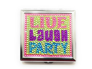 Live Laugh Party Bling Double Sided Metal Cigarette Case for Kings/ Wallet