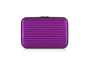 Purple Aluminum Wallet Credit Card Holder With RFID Protection