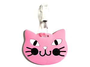 Pink Cat Face ~ Travel Suitcase ID Luggage Tag and Suitcase Label