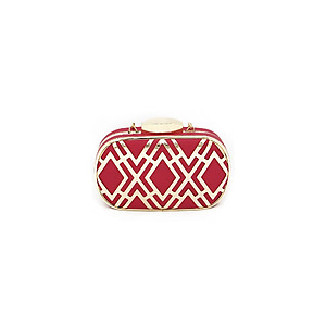 Red & Gold Metal Fretwork Cut Overlay Two Tone Clutch Bag