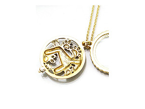 Goldtone Schnauzer Magnifying Glass Pendant Necklace