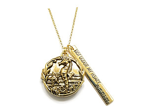 Locket Sea Horse Engraved Pendant Long Necklace