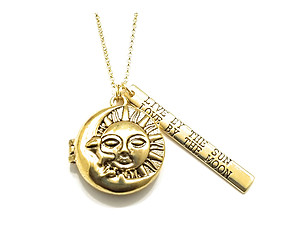 Locket Religious Sun And Moon Engraed Long Necklace