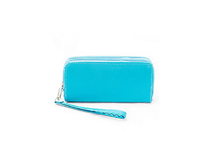 Colorful Faux Leather Fashion Two Zipper Convertible Wallet