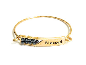 Blessed Engraved Wire Wrapped Metal Faceted Bead Wire Hook Clasp Bangle Bracelet