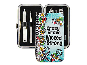 Crazy Brave Wicked Strong 6-Pcs Manicure Pedicure Grooming Kit