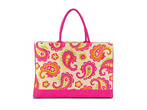 Paisley Fashion Juco Jute Shopper Beach Tote Bag