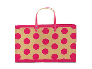 Pink Polka Dots Jute Shopper Beach Tote Bag