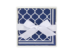Navy Ogee Beverage Napkin Holder Gift Set