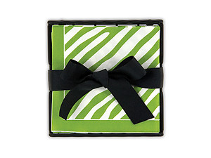 Sage Zebra Beverage Napkin Holders Gift Set
