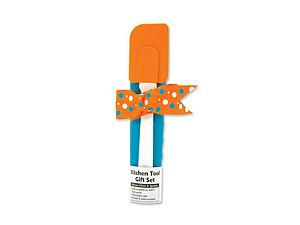 Orange Aqua & White Silicone Trivet & Spatula Kitchen Tool Gift Set