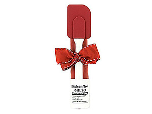 Red & White Silicone Trivet & Spatula Kitchen Tool Gift Set