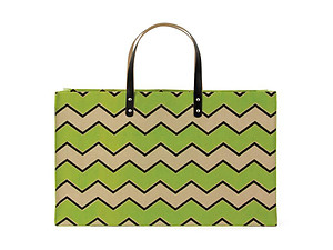 Green Chevron Jute Shopper Beach Tote Bag