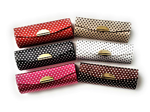 Colorful Polka Dot Lipstick Case Holder w/ Mirror